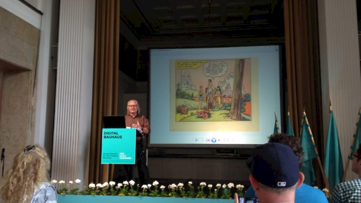 Keynote on the second day of the Digital Bauhaus Summit 2016: Bruce Sterling. Photo: Thomas Mueller